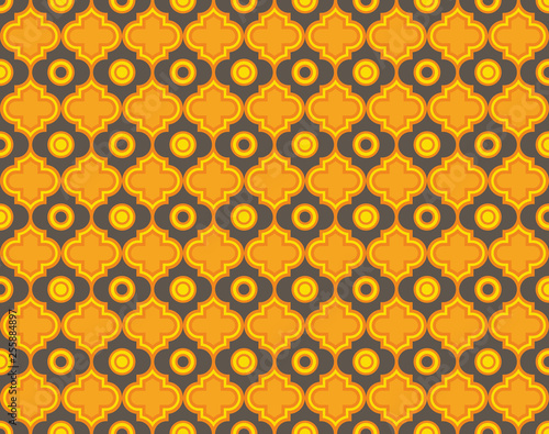 Photo Moroccan Quatrefoil Seamless Pattern Mosaic Ogee Vector
