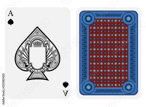 Photo Ace of spades face with frame in center and vintage weapon around inside spades form and back with blue red geometrical texture on suit