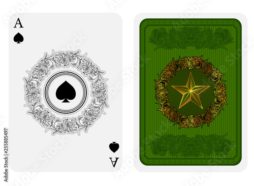 Photo  Ace of spades face with spades in center of flower pattern round frame and back
