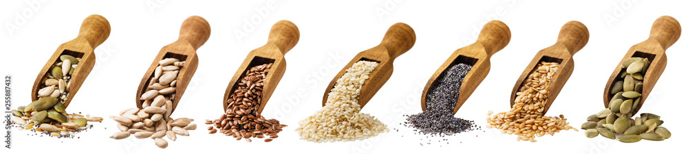 Fototapety, obrazy: Scoop with seeds of pumpkin, the flax, sesame of sunflower and poppy isolated on a white background. Set of ingredients