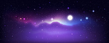 Night Sky Background. Bright Stars With Moon And Clouds.