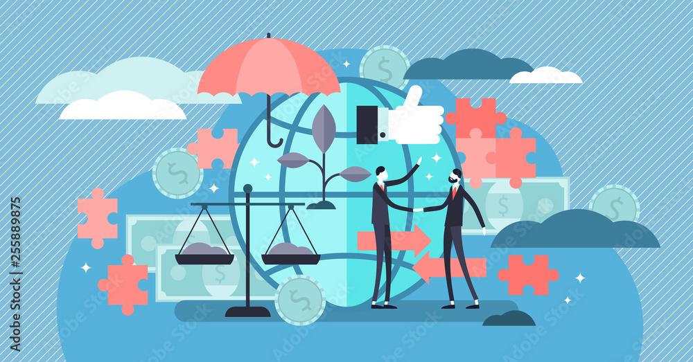 Fototapeta Ethical marketing vector illustration. Flat tiny responsible person concept
