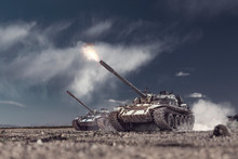 Two Military Tanks Attacking And Shooting