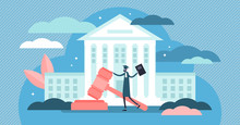 Supreme Court Vector Illustration. Flat Tiny Judge Building Persons Concept