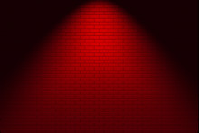 3d Rendering. Modern Red Brick Wall With Light Fron Spot Light For Design Background.