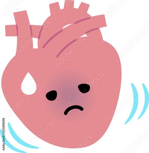 具合が悪そうな心臓のキャラクター Canvas Print