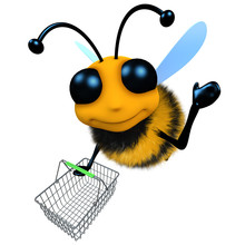Funny 3d Cartoon Honey Bee Character Flying With A Shopping Basket