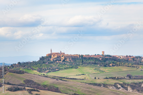 Tuscany landscape with the village of Pienza
