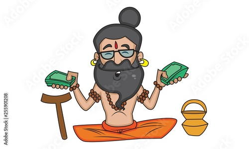 Poster Ouest sauvage Vector cartoon illustration of cute data baba sitting, holding money in hand. Isolated on white background.
