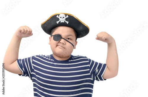 fat boy wearing a pirate costume show muscle Fototapeta
