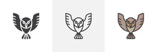 Owl Bird Icon. Line, Glyph And...