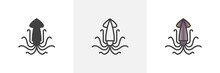 Squid, Calamari Icon. Line, Glyph And Filled Outline Colorful Version, Sea Squid Mollusk Outline And Filled Vector Sign. Symbol, Logo Illustration. Different Style Icons Set. Vector Graphics