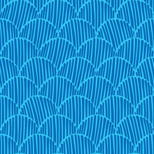 Abstract Monochrome Doodle Fishscale Seamless Vector Pattern Background For Fabric, Wallpaper, Scrapbooking, Cards.
