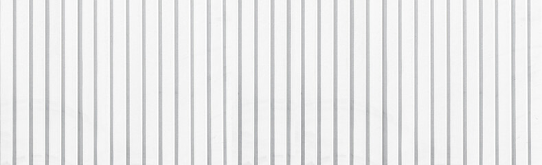 Panorama of Galvanized sheet fence painted white texture and seamless background