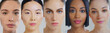 canvas print picture - Collage of portraits of women of different ethnicities with beautiful faces and perfect skin just cleaned from impurities ready for day or night cream looking in camera.
