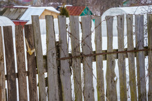 Fence Around The Garden Of Nailing Boards
