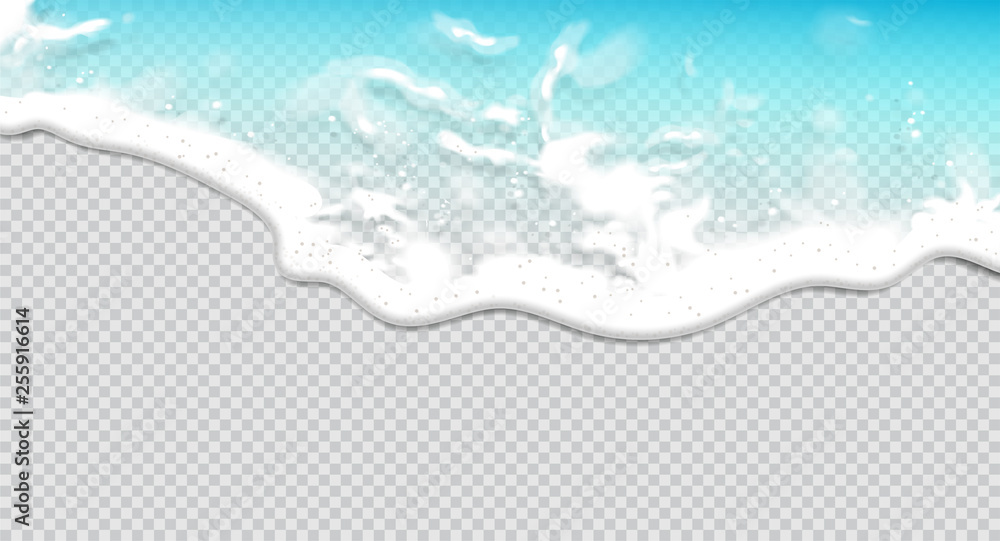 Fototapety, obrazy: Summer background. Transparent sea wave.  3D vector. High detailed realistic illustration.