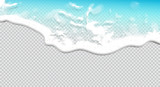 Fototapeta Bathroom - Summer background. Transparent sea wave.  3D vector. High detailed realistic illustration.