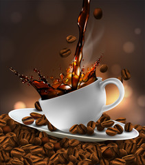 FototapetaCup of coffee with splash effect, coffee beans, transparent background. 3D vector. High detailed realistic illustration