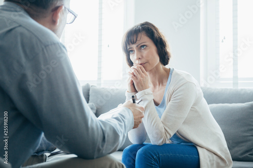 Depressed woman searching help at the psychotherapist