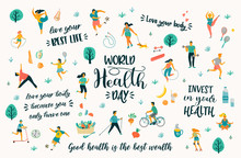 World Health Day. Vector Illustration With People Leading An Active Healthy Lifestyle And Quotes.