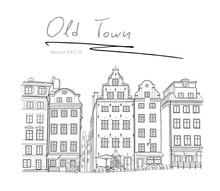 Sweden Stockholm Trade Square Hand Drawn Sketch