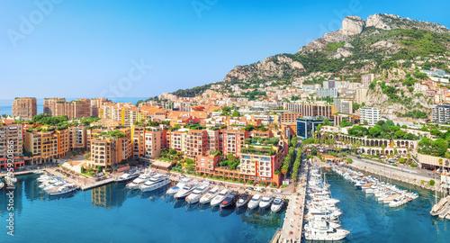 Fotografie, Obraz  Luxury residential area Monaco-Ville with yachts, Monaco, Cote d'Azur, France