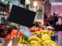 Mock Up Signage In Supermarket Fresh Fruit Banana Food Product Retail Shopping Business