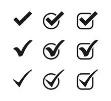 Three Black Vector Check Mark Icons In Circles And Squares. Check Mark Icons. Collection Black Check Marks