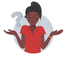 Cartoon Pretty Black Girl Doubts, Thinks Why. Woman With Question Mark. Vector Illustration