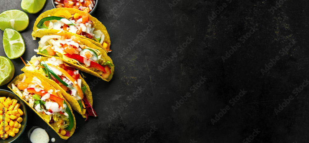 Fototapety, obrazy: Tasty appetizing tacos with vegetables
