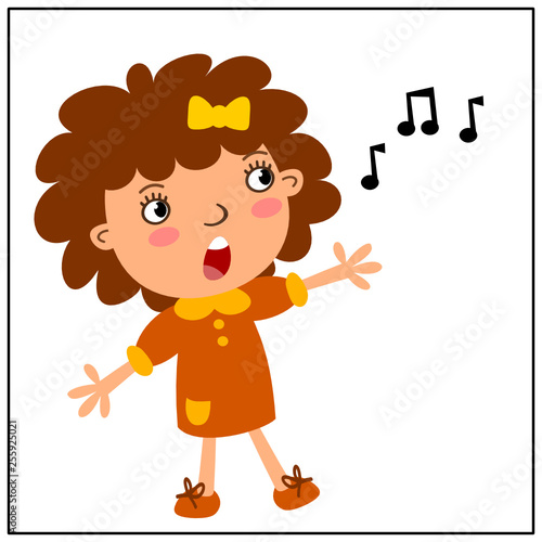 Foto op Aluminium Hoogte schaal Funny girl in cartoon style loudly singing a song on white background.