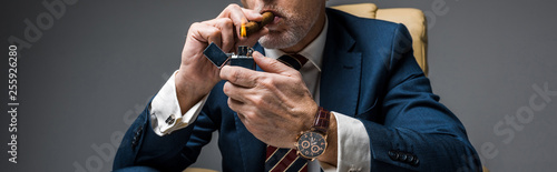 panoramic shot of mature businessman holding lighter while smoking cigar on gre Canvas Print