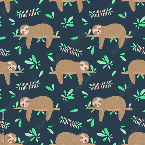 Photo Seamless pattern of sleepy cute sloths in the night