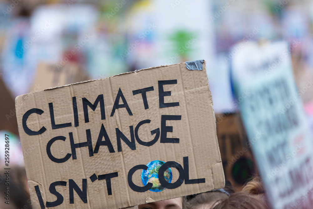 Fototapety, obrazy: People with banners protest as part of a climate change march