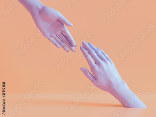 Obraz 3d render, female hands isolated, minimal fashion background, mannequin body parts, helping hands, partnership concept, peachy violet pastel colors - fototapety do salonu