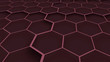 Red honeycomb background. Red hexagons texture. Geometric structure