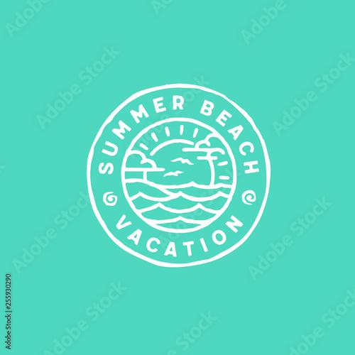 Wall Murals Green coral Summer beach vacation logo design