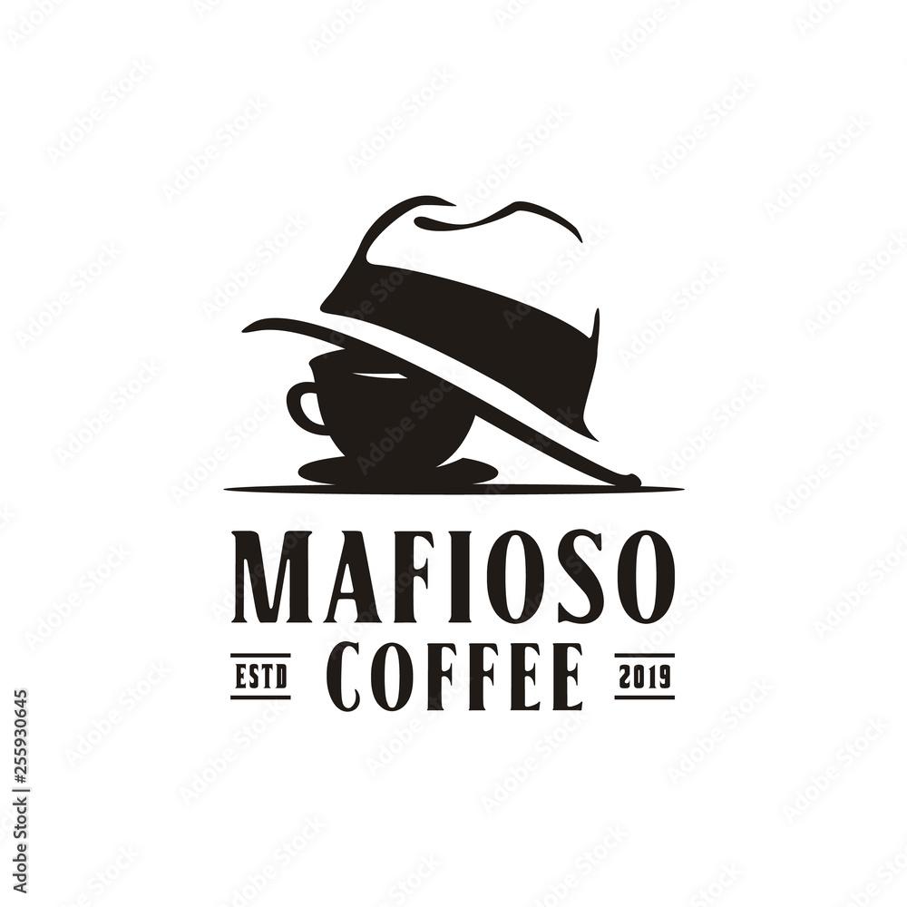 Fototapeta Coffee Cup Mafia Mafioso Hat Crime logo design