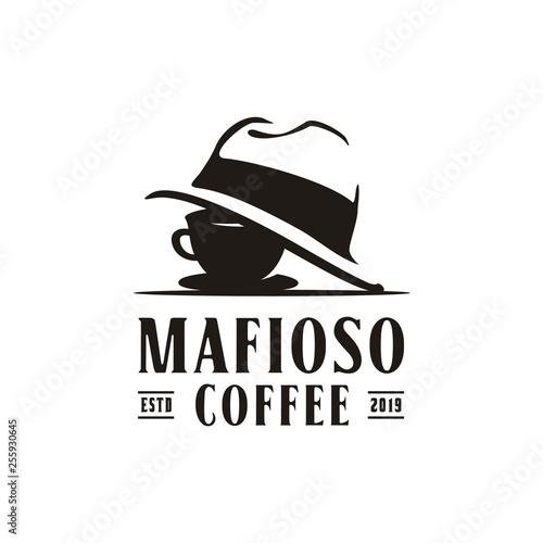 Fototapeta Coffee Cup Mafia Mafioso Hat Crime logo design obraz