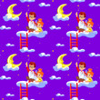 canvas print picture - Seamless children  pattern with cute boy and little girl, clouds, stars and moon. Creative kids texture for fabric, wrapping, textile, wallpaper, apparel. Concept of children's learning.