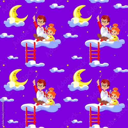 Seamless Children Pattern With Cute Boy And Little Girl Clouds Stars And Moon Creative Kids Texture For Fabric Wrapping Textile Wallpaper Apparel Concept Of Children S Learning Buy This Stock Illustration And