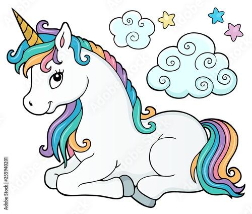 Foto op Canvas Voor kinderen Stylized unicorn theme image 2