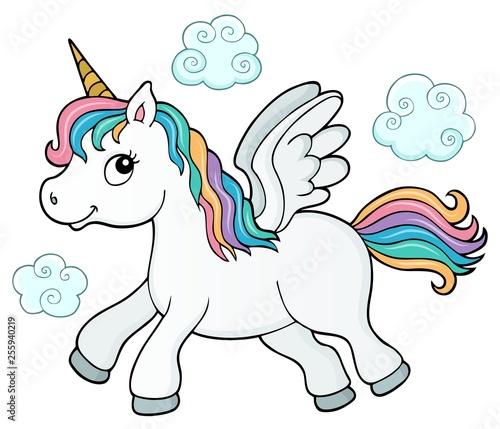 Foto op Canvas Voor kinderen Stylized unicorn theme image 3
