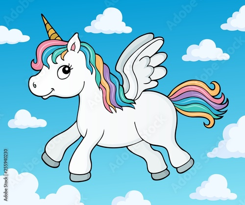 Foto op Canvas Voor kinderen Stylized unicorn theme image 4