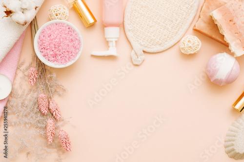 Fototapeta Bath pampering cosmetic set