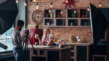 Vlog On Healthy Nutrition. Loft Kitchen Studio. Backstage Photography. Couple Shooting Video Tutorial.