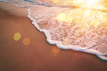Sunset Beach And Smooth Wave Abstract Texture Background.