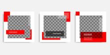Minimal Design Background Vector Illustration In Black Red White Frame Color. Editable Square Abstract Vintage, Geometric Strip Line Shape Banner Template For Social Media Post, Stories, Story, Flyer.