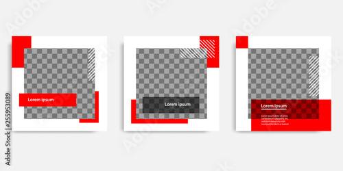 Fotografía  Minimal design background vector illustration in black red white frame color